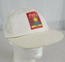 Vtg 90's Coca-Cola POP MUSIC Snapback Hat Cap Coke White Twill Made in USA - $28.99