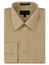 Men's Classic Fit Long Sleeve Wrinkle Resistant Button Down Khaki Dress Shirt image 1