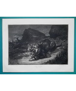 LIONESS at Night on Lookout - 1876 Antique Print - $13.49
