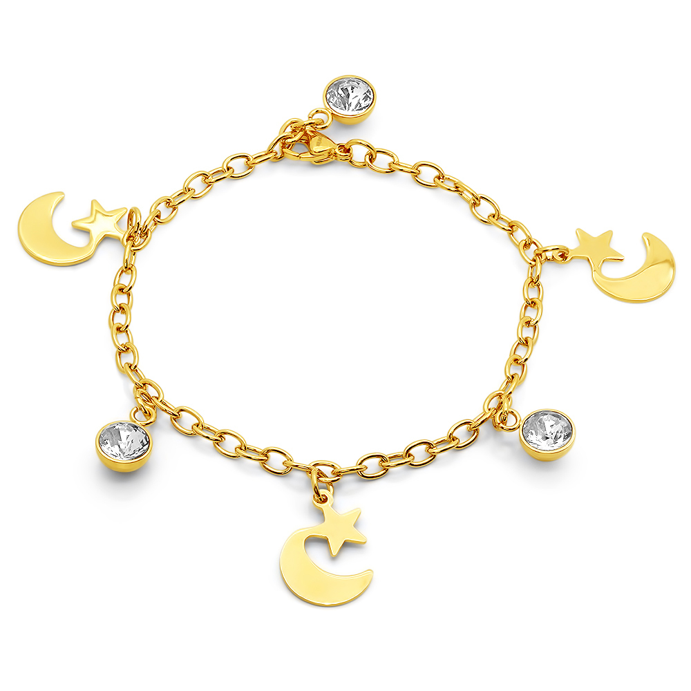 PIATELLA 18K Gold Plated star & moon bracelet adorned with Swarovski crystals