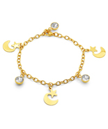 PIATELLA 18K Gold Plated star & moon bracelet adorned with Swarovski cry... - £12.29 GBP