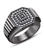 14K Black Gold Finish Round Cut Diamond Mens Engagement Wedding Pinky Ba... - $93.73
