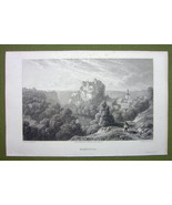 GERMANY Hohnstein Castle - 1820s Copper Engraving by Cpt. Batty - $13.77