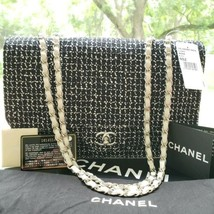 New Chanel Black White Leather Tweed Jumbo Classic Flap Bag Made in France - $3,615.99