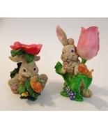 Bunny Rabbits Rose Pansy Flowers Set of 2 Statue Figurine Painted Snail ... - $28.00
