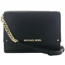 NWT MICHAEL KORS Hayes Small Leather Clutch Crossbody Bag, Black - $150.00