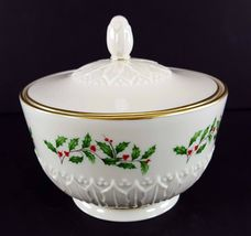 """LENOX China Holiday Dimension Sculptured Candy Jar with Lid 3-3/8"""" Dinnerware image 4"""
