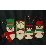 3 VINTAGE CHRISTMAS FELT SNOWMAN WALL DECORATION & 1 SANTA CLAUS DOOR HA... - $14.03