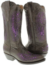 Womens Brown Purple Cross Sequins Leather Cowgirl Boots Pointed Toe - $87.99