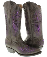 Womens Brown Purple Cross Sequins Leather Cowgirl Boots Pointed Toe - €74,50 EUR