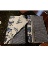 YVES DELORME BLUE WHITE CHINESE ASIAN PICTORIALS SHAMS PAIR FRANCE - $74.95
