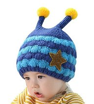 Cartoon Bee Shaped Baby Winter Warmer Hats Denim BLUE, 6-48 Months
