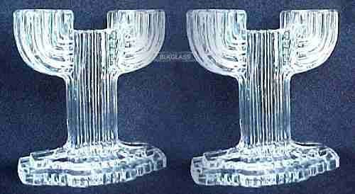 Queen Mary 2-Lite Double Candlesticks Prismatic Ribbed - $17.06