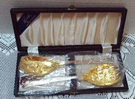 Vintage Raimond Gold/Silver Plate Salad Fork & Spoon Server Utensils She... - $20.00