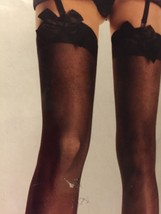 Leg Avenue Black 1911 Sheer Thigh Highs With Bows One Size NEW With Tags - $15.83