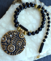 statement necklace, beaded necklace, black stone necklace, large pendant... - $45.99