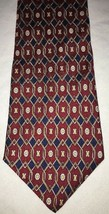 Geoffrey Beene Mens Red Yellow Blue Geometric 100% Silk Neck Tie Necktie  - $7.82