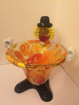 Vintage Hand Made Murano Venice Italy Glass Art Clown Candy Dish Bowl - $28.62