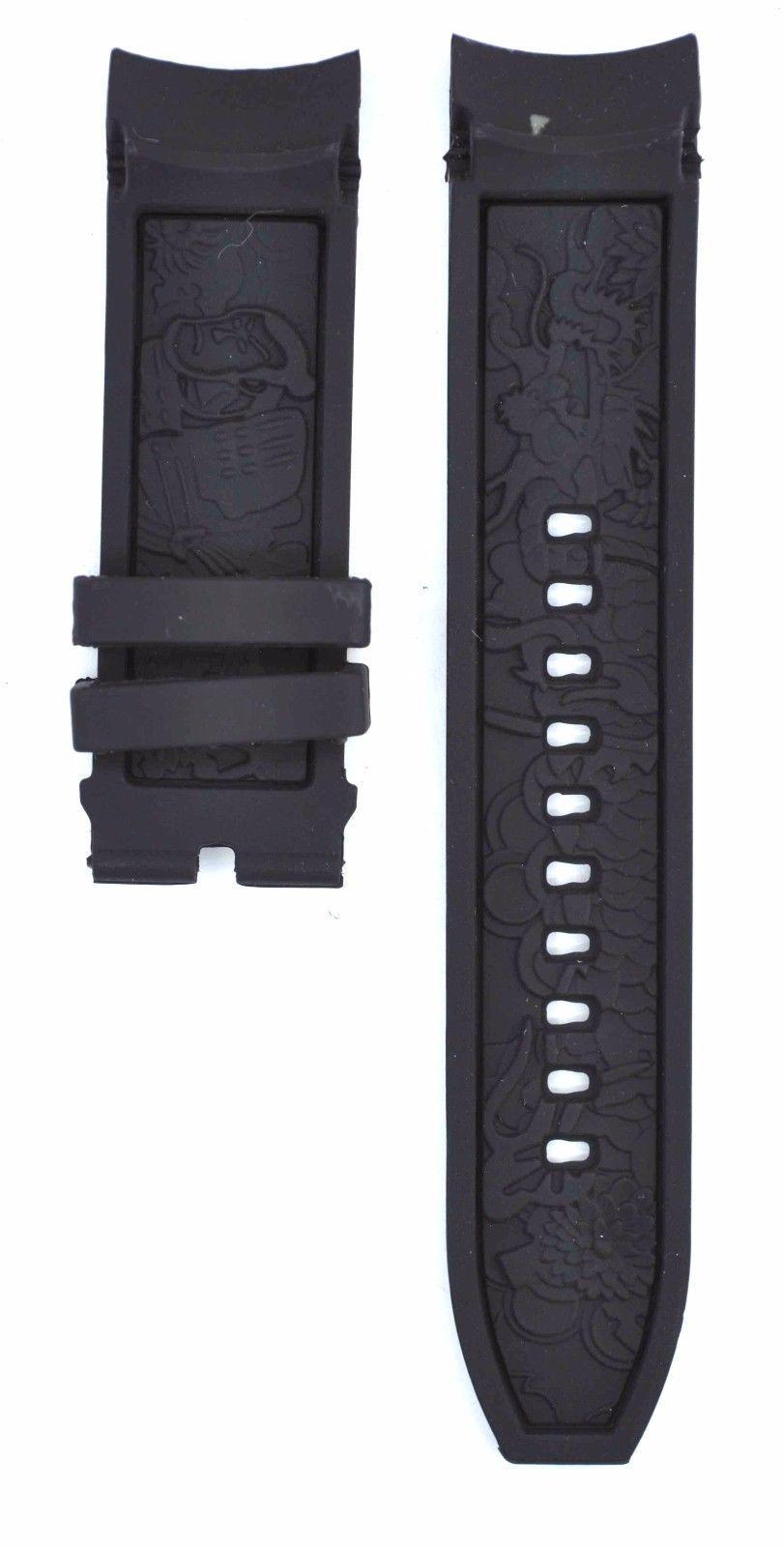 Compatible Invicta S1 Rally Dragon 12140 24mm Black Rubber Watch Strap INV127