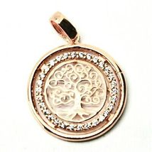 Pendant Tree of Life Gold 18K 750 Pink and Zircon Cubic Made in Italy image 3