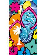"""Flip Flops Towel Dolphins Flowers Myrtle Beach Pool Souvenir 30""""x60"""" - £8.56 GBP"""