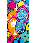 "Flip Flops Towel Dolphins Flowers Myrtle Beach Pool Souvenir 30""x60"" - $196,54 MXN"