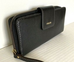 New Fossil Madison zip clutch wristlet Leather wallet Black with Dust bag - $59.00