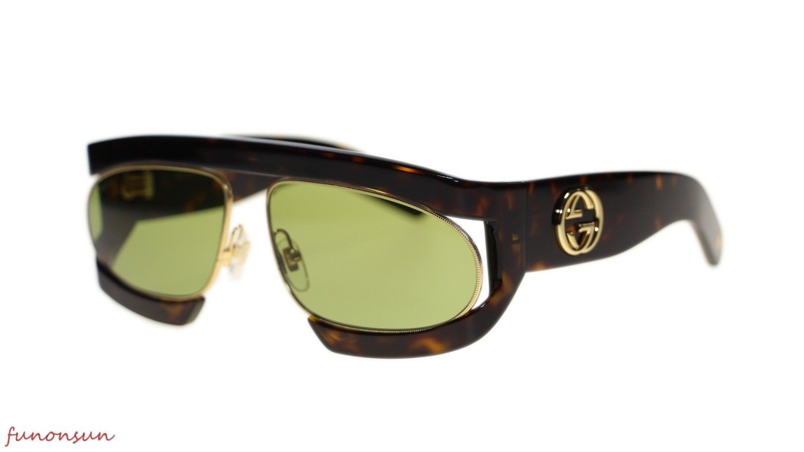 29e87397715 10. 10. Previous. New Gucci Women s Sunglasses GG0233S 002 Havana Gold  Green Lens 63mm Authentic