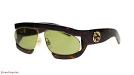 New Gucci Women's Sunglasses GG0233S 002 Havana Gold Green Lens 63mm Aut... - £270.16 GBP