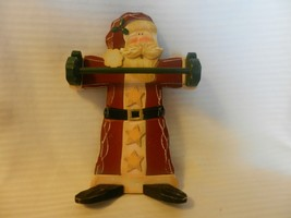 "Wooden Freestanding Santa Claus Hand Towel Holder 9.5"" Tall, Antique Finish - $22.28"
