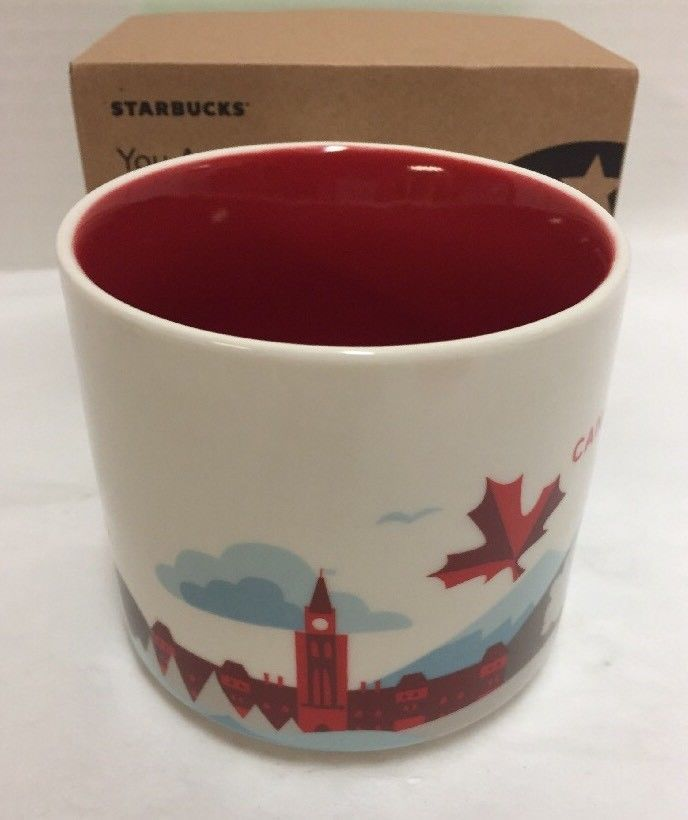 35b063b58c3 New Starbucks Canada Coffee Mug Maple Leaf Mountains Trees You are Here