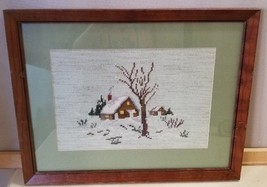 Framed Needlepoint Cabin in Winter Snowy Woods Lodge Behind Glass Wood F... - $19.99