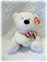 Ty Beanie Babies Candy Cane Polar Bear Plush Security Lovey Christmas NWT Tylux - $11.87
