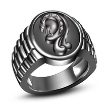 Round Cut White CZ 14k Black Gold Plated 925 Silver Astrology Virgo Zodiac Ring - $96.50