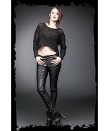 Women's Goth Pants Vegan Leather Lace up Skinny Punk Trousers Street Fas... - $91.10
