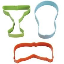 Summer Cookie Cutters Wilton Colorful Metal 3 Pc Set Margarita flip flops - $4.74