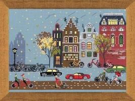 Cross Stitch Kit Riolis Landscape City People Cycle Lane - $34.80