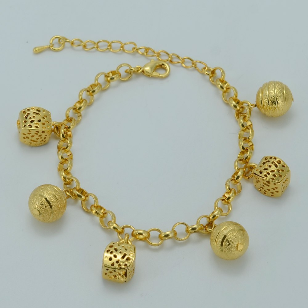 Primary image for 18cm + 5cm Round Beads Bracelet Gold Color Trendy Ball Bangle