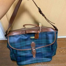 RALPH LAUREN Plaid Shoulder Hand Bag Leather Travel Zipper Brown Vintage... - $468.00