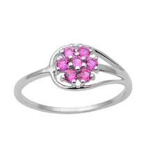 925 Sterling Silver Pink Cubic Zircon Flower Stacking Solitaire Ring RI0960 - $16.89