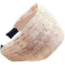 Fold Lace Headband Fashion Hairband Wide Headwrap Hair Accessories(Pink)