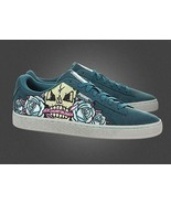 Puma Embroidered SKULL PATCH Roses Teal Blue Lime Suede Mens Shoes NWOT NEW - $62.99