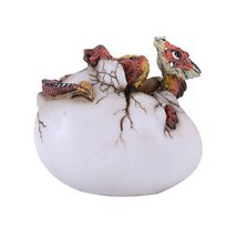 Red Baby Dragon On Back Egg Figurine Resin Hand Painted Cool - £11.29 GBP