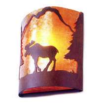 Moose Silhouette Mica Wall Sconce Light Cottage Cabin Lodge Country Ligh... - $2.168,24 MXN