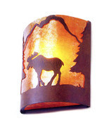 Moose Silhouette Mica Wall Sconce Light Cottage Cabin Lodge Country Ligh... - $152.22 CAD
