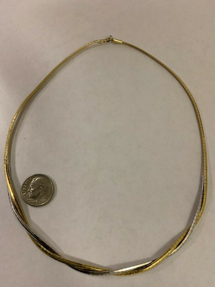 """Unique 14K Aurafin Italian Yellow & White Gold 16"""" Omega Necklace 17.2G 3mm"""