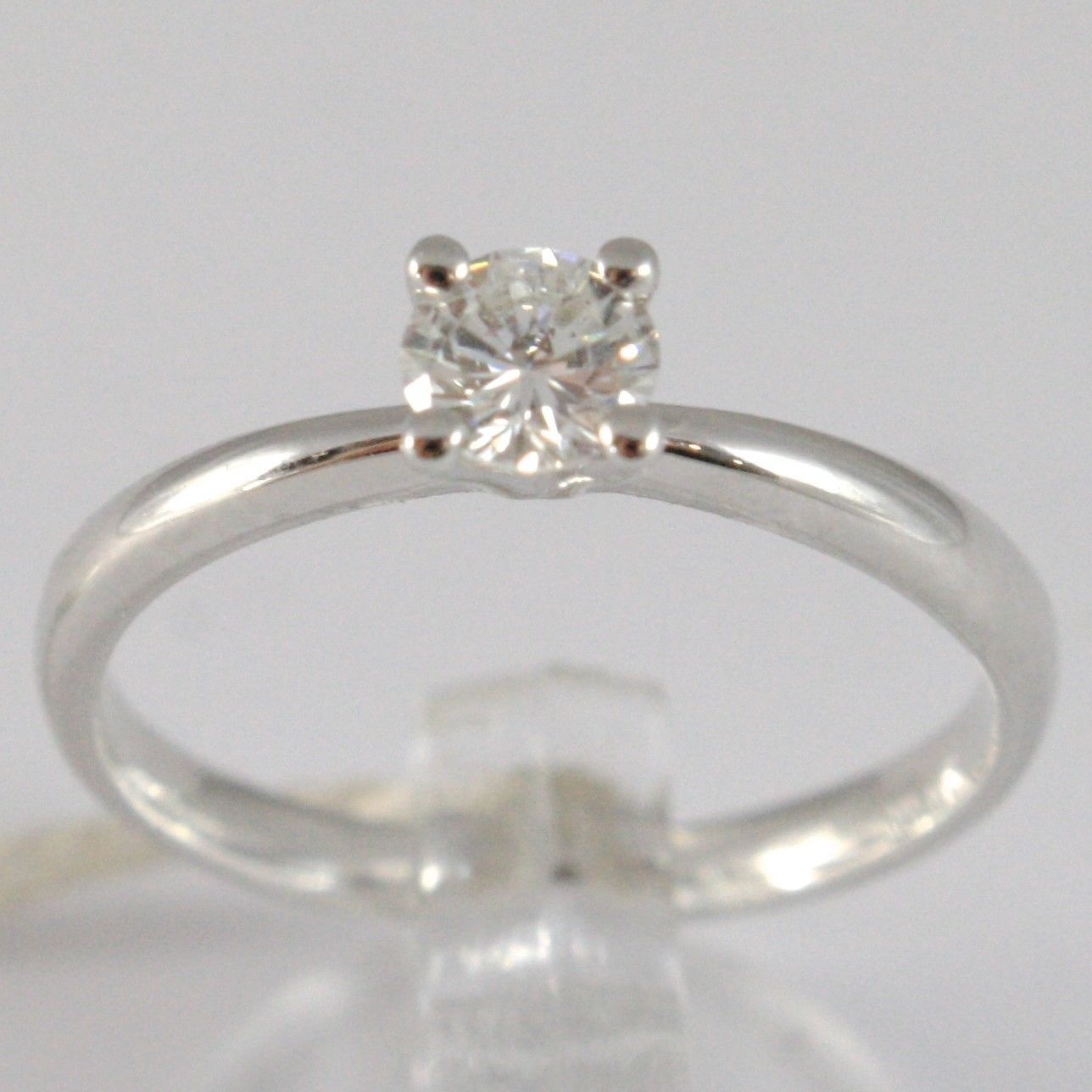 WHITE GOLD RING 750 18K, SOLITAIRE, STEM ROUNDED, DIAMOND CARAT 0.32