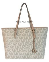 MICHAEL KORS JET SET TRAVEL MEDIUM VANILLA SIGNATURE MK PVC LEATHER TOTE... - ₨8,559.39 INR