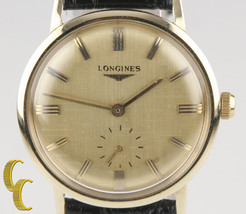 Longines Vintage Classic 14k Gold Men's Wrist Watch Leather Hand Wind Working - $1,188.02