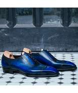 Best Handmade Men's Blue Leather Patina Oxfords Dress Formal Custom Made... - $159.99+